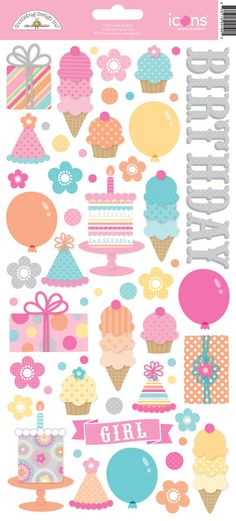 Sugar Shoppe Collection Launch Party + Giveaway with Doodlebug Design - cute ICONS card stock stickers