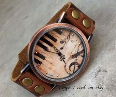 100 pure leather watch  Vintage piano music ladies by itypeicool, $13.99
