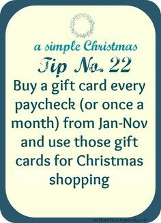 smart idea for saving money on christmas gifts, and not having to spend all your money in one month.(hmmm…this is a pretty good idea!)