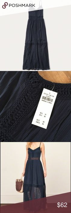 NWT Abercrombie Lace Panel Maxi Dress Brand NWT Navy Maxi Dress.  Great summer evening dress!!! Abercrombie & Fitch Dresses Maxi