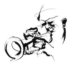 Jazz trumpet player black & white ink illustration by Eri Griffin http://www.erigriffin.com/