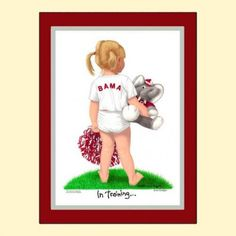 Alabama Crimson Tide college art print Cheerleader In Training matted How To Hang Wallpaper, Paper Supplies, Wedding Prints, Back To School Gifts, Alabama Crimson Tide, Mother And Father, Baby Prints, Cheerleading, Watercolor Paintings