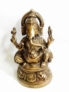 "Vintage Heavy Brass Ganesha Statue Hindu God 8.5"" Elephant"