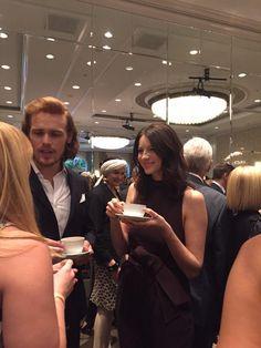 Outlander's @SamHeughan and @caitrionambalfe mingling #BAFTATea