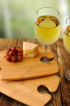 Wine, cheese, and a personalized cutting board.