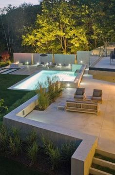 Modern Landscape Small Backyard Patio Design, I really like the lines in this design. Love the fencing idea behind the pool. Modern Landscape Design, Modern Garden Design, House Landscape, Patio Design, Modern Design, Nice Landscape, Balcony Design, Modern Decor, Modern Backyard