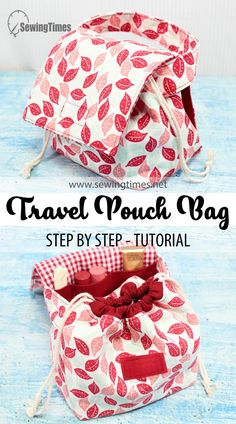 DIY TRAVEL POUCH BAG | Drawstring Pouch with Cover Sewing Tutorial [sewingtimes] Diy Travel Pouches, Travel Diys, Patchwork Bags, Crazy Patchwork, Quilted Bag, Small Sewing Projects, Bag Patterns To Sew, Patchwork Patterns, Patchwork Designs