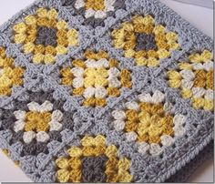 Yellow & Gray Granny Square Blanket
