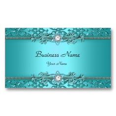 Elegant Teal Blue Damask Embossed Look Double-Sided Standard Business Cards (Pack Of