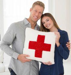 Red Heart Cares Crochet Pillow | Crochet project | Crochet Pillow