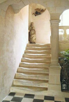 Incredible staircase of the 16th to 18th century old Dolais home in Baugé, a small town in Anjou
