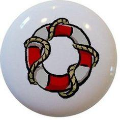 Red Nautical Preserver Ceramic Cabinet Drawer Pull Knob by Carolina Hardware and Decor, http://www.amazon.com/dp/B001TXPDP4/ref=cm_sw_r_pi_dp_.yHMqb13TJQ9F