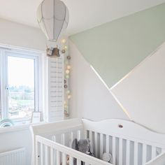 Thinking of creating a feature wall in your little one's nursery? We love this geometric design from the chrome tape looks perfect contrasted with subtle mint. - Featuring the Sleigh Royale Cot Bed. Baby Room Design, Baby Room Decor, Nursery Decor, Boy Room Paint, Room Wall Painting, Bedroom Wall Designs, Accent Wall Bedroom, Geometric Wall Paint, Room Color Schemes
