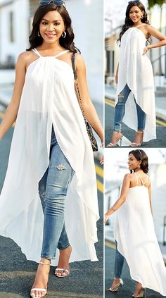 Cross Strap Chiffon Asymmetric Hem White Blouse HOT SALES, beautiful blouses, cute blouses, top, tops, comfy, cute top, stylish blouses, tops casual, pretty tops, tops outfits, top fashion outfits, spring tops, fall fashion, clothes, mode trends, trending, elegant style, women's fashion, moda, women, beauty, shopping Chic Outfits, Fashion Outfits, Fashion Clothes, Womens Fashion, Cute Blouses, Spring Tops, Beautiful Blouses, Cute Tops, Casual Tops