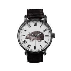 Hedgehog Lover's Wrist Watch - Cute Vintage Hedgie Illustration