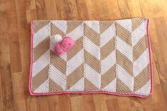 Instant Download - Crochet Pattern - Herringbone Blanket. Could make chevron.