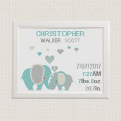 Birth announcement baby sampler Cross stitch elephants with hearts cross stitch pattern new baby boy birthday gift nursery decor wall art by AnimalsCrossStitch on Etsy https://www.etsy.com/listing/501581864/birth-announcement-baby-sampler-cross