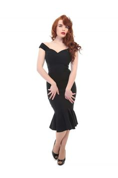 e5fe365137 Josephine Black Fishtail 1940 s Dress - Modern Grease Clothing and  Accessories Co. Grease Outfits