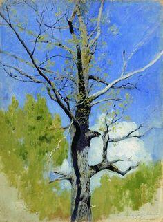 Левитан Исаак Ильич (1860-1900) Isaak Levitan Ствол распускающегося дуба. 1883-1884
