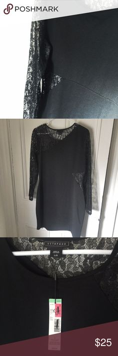 Metaphor elegant lacy black dress Sexy & elegant, this form-fitting black dress has lace sleeves & lace side cut outs. Brand new with tags, size large. Metaphor Dresses
