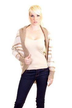 Wow Couture Striped Knit Ribbed Edges Buttonless Open Cardigan Shrug Sweater White Beige Wow Couture. $14.99