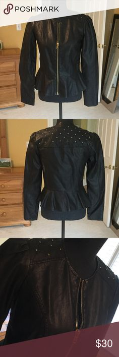 NWOTs Faux peplum leather jacket with studs! Fabulous piece for the fall! Never worn, has quilting and gold accents on shoulders and upper back! Looks and feels like genuine leather! Forever 21 Jackets & Coats