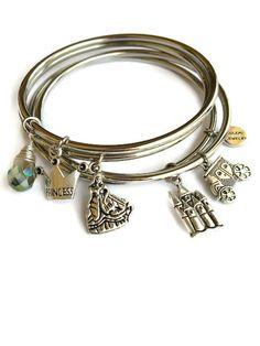 Fairy Tale Princess Bangle Bracelet Set Fairy Tale Stacking Bracelet Set Princess Crown Charmed Bangles Stacking Bracelet Set (SO11) by JulemiJewelry on Etsy https://www.etsy.com/listing/231254525/fairy-tale-princess-bangle-bracelet-set