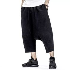 5251fa73b0bef Mens Casual Cotton Harem Pants Solid Color Baggy Loose Fit Wide Legs  Trousers Online-NewChic