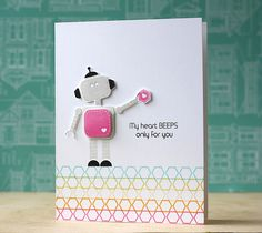 My Heart Beeps Card by Laura Bassen for Papertrey Ink (December 2014)