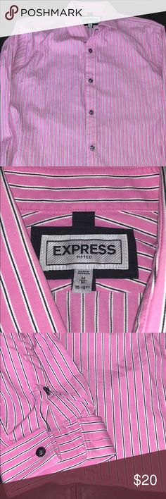 Express striped button down French cuff shirt Express fitted striped button down French cuff shirt.....Size Medium 15-15.5 neck.....Pink Black and white in color.....Great condition....Bin17 Express Shirts Casual Button Down Shirts