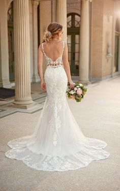 Wedding Dresses Lace Beach 6914 Mixed-Fabric Bridal Gown with Double Banded Waist by Stella York.Wedding Dresses Lace Beach 6914 Mixed-Fabric Bridal Gown with Double Banded Waist by Stella York Backless Mermaid Wedding Dresses, Best Wedding Dresses, Boho Wedding Dress, Mermaid Dresses, Fit And Flare Wedding Dress, Trumpet Wedding Dresses, Fitted Wedding Dresses, Detailed Wedding Dresses, Weeding Dresses