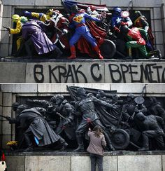 """Yesterday morning in Sofia, Bulgaria, anti-Communist street artists painted over a monument commemorating the anniversary of the Soviet """"liberation"""" (i. a Communist coup d'état) of Bulgaria in Who did they add to the statue? Comic Book Heroes, Comic Books, Pop Art, Spiegel Online, Photo New, Army Soldier, Red Army, Street Artists, Banksy"""