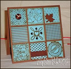 Card with stamps and square punch #scrapbooking #cards