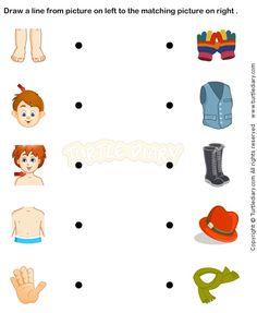 Body Parts Prek worksheets