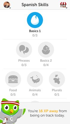 Love how skills you don't have yet (i.e. wihslisted badges) are grayed out - Duolingo