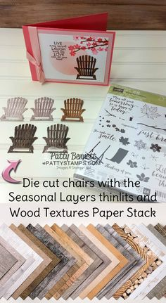 Seasonal layers Adirondack chair die cut with the Wood Textures paper stack.  Cherry Blossom branch stamped with Colorful Seasons stamp set / greeting from Ribbon of Courage. Card by Patty Bennett