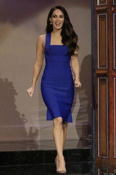 ชุดราตรีสั้น ธีมสีน้ำเงิน แขนกุด ของ Megan Fox - Roland Mouret  http://www.dressbyatale.com/#!megan-fox-short-dress-blue/ciib