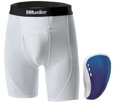 Mueller Sports Medicine Youth Athletic Support Brief with Flex Shield Cup Whiteblue Large -- Check out the image by visiting the link.