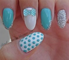 Blue Bow Nails with bow, dots and silver glitter------pinned by Annacabella