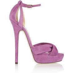 Jimmy Choo Greta lavender purple suede sandals ❤ liked on Polyvore