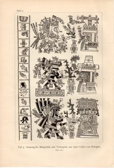 1915 Mayan God Kukulkan Antique Print Vintage by Craftissimo