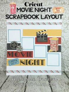 Cricut Movie Night Scrapbook Layout