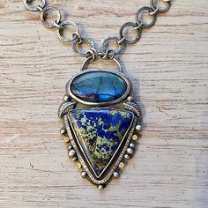 Labradorite, azurite, gold and 925 silver necklace.