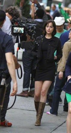 Dakota on the set of How to be Single today in NYC!!