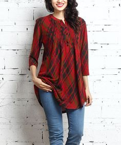 Look what I found on #zulily! Red Diamond Plaid Notch Neck Pin Tuck Tunic #zulilyfinds