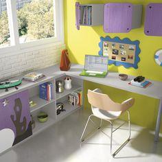 Organización y capacidad de almacenaje en la zona de estudio de habitaciones #infantiles