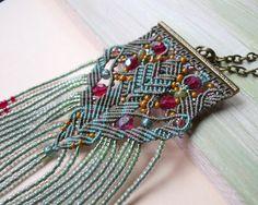 Bohemian macrame necklace boho chic micro macrame by MartaJewelry