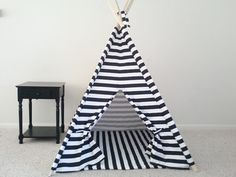 Black and White or Red and White Horizontal Stripe Tent and Mat,