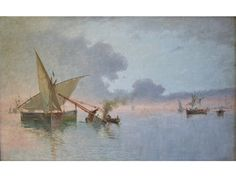 Caulking fishing boats, probably in the Gulf of Spezia von Agostino Fossati
