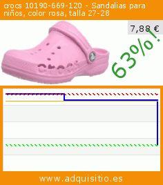 crocs 10190-669-120 - Sandalias para niños, color rosa, talla 27-28 (Ropa). Baja 63%! Precio actual 7,88 €, el precio anterior fue de 21,40 €. https://www.adquisitio.es/crocs/10190-669-120-sandalias